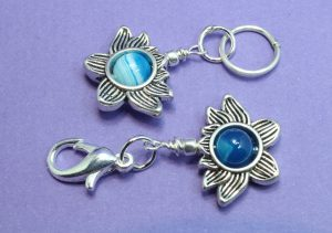 Blue Banded Agate set in a Lotus Flower