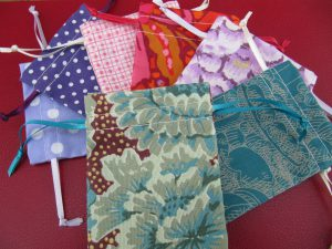 Little cotton storage/gift bags, made from quilting fabric