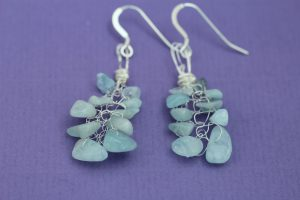 Knitted on silver wire, these aquamarine earrings are stunning