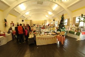 Holmbridge Parish Hall in all its Christmas finery